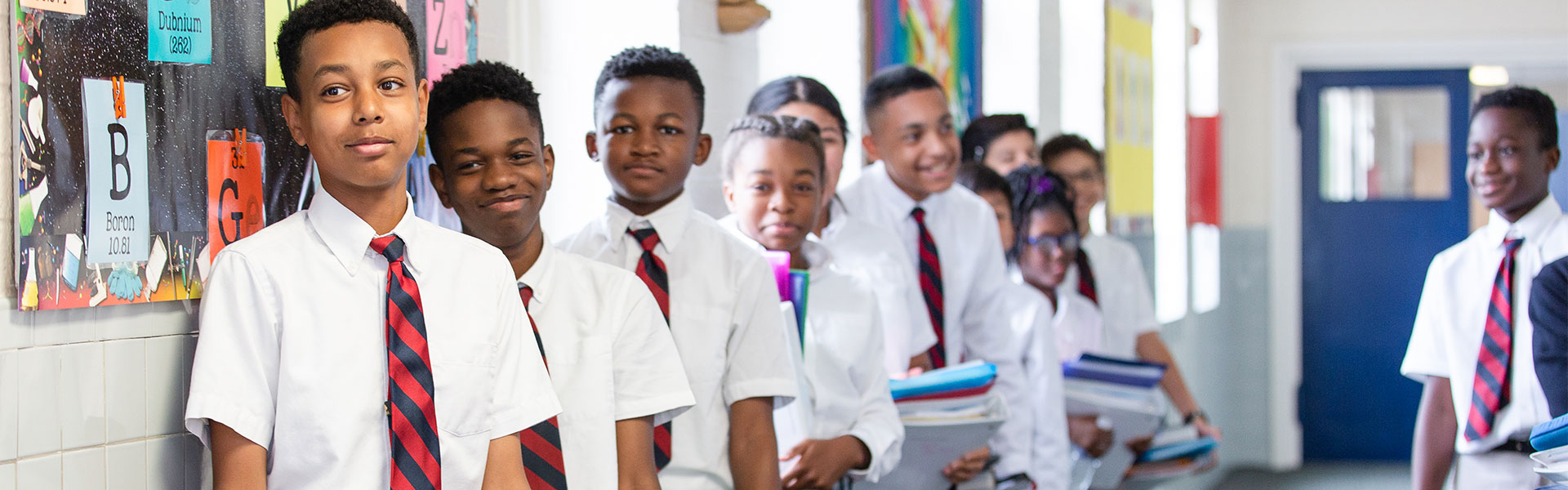 middle school students in uniforms at annunciation catholic school in dc